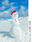 Купить «Снеговик в шапке Санты», фото № 4081046, снято 1 апреля 2012 г. (c) ElenArt / Фотобанк Лори