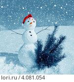 Снеговик в новогоднем колпаке с елочкой. Стоковое фото, фотограф ElenArt / Фотобанк Лори