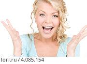 Купить «Портрет молодой очаровательной блондинки крупным планом», фото № 4085154, снято 26 сентября 2009 г. (c) Syda Productions / Фотобанк Лори
