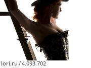 Купить «Силуэт женщины в корсете и шляпе со стремянкой», фото № 4093702, снято 30 сентября 2009 г. (c) Syda Productions / Фотобанк Лори
