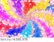 Разноцветные цветы. Стоковая иллюстрация, иллюстратор Наталья Хромова / Фотобанк Лори