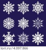 Купить «Снежинки на синем фоне», иллюстрация № 4097866 (c) Катыкин Сергей / Фотобанк Лори