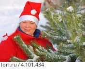 Купить «Женщина в костюме Снегурочки у елки», эксклюзивное фото № 4101434, снято 9 декабря 2012 г. (c) Юрий Морозов / Фотобанк Лори