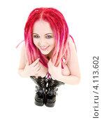 Купить «Девушка-подросток с розовыми дредами на белом фоне», фото № 4113602, снято 15 ноября 2008 г. (c) Syda Productions / Фотобанк Лори
