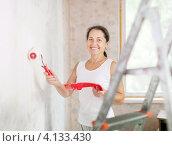 Купить «Улыбающаяся женщина средних лет красит стену», фото № 4133430, снято 26 сентября 2012 г. (c) Яков Филимонов / Фотобанк Лори