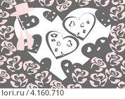 День Святого Валентина. Ретро. Сердце со шляпкой. Стоковая иллюстрация, иллюстратор Ольга Рыбкина / Фотобанк Лори