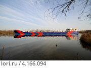Купить «Баржа на Дону», фото № 4166094, снято 12 ноября 2010 г. (c) A Челмодеев / Фотобанк Лори