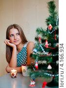 Купить «Портрет симпатичной задумчивой девушки возле новогодней ёлки», эксклюзивное фото № 4166934, снято 5 января 2013 г. (c) Игорь Низов / Фотобанк Лори
