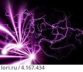 Купить «Темный фон с яркими фиолетовыми вспышками и линиями», иллюстрация № 4167434 (c) ElenArt / Фотобанк Лори