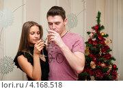 Купить «Счастливая пара. Девушка с парнем с шампанским возле новогодней ёлки», эксклюзивное фото № 4168518, снято 5 января 2013 г. (c) Игорь Низов / Фотобанк Лори