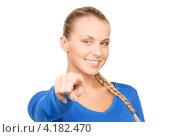 Купить «Привлекательная деловая женщина показывает на что-то пальцем на белом фоне», фото № 4182470, снято 8 мая 2010 г. (c) Syda Productions / Фотобанк Лори