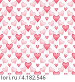 Купить «Бесшовный фон с розовыми и красными сердечками», иллюстрация № 4182546 (c) Литова Наталья / Фотобанк Лори