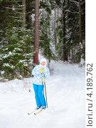 Молодая женщина в сосновом лесу катается на лыжах. Стоковое фото, фотограф Кекяляйнен Андрей / Фотобанк Лори