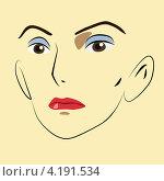 Рисунок женского лица, жёлтый фон. Стоковая иллюстрация, иллюстратор Николай Цитульский / Фотобанк Лори