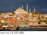 Вид на дома на Золотом Роге и мечеть Сулеймание в городе Стамбуле, Турция (2012 год). Редакционное фото, фотограф Николай Винокуров / Фотобанк Лори