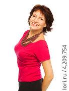 Купить «Счастливая женщина средних лет в яркой футболке и бусах», фото № 4209754, снято 17 декабря 2012 г. (c) Сергей Новиков / Фотобанк Лори
