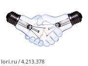 Две электрические лампы накаливания виде рукопожатия на белом фоне. Стоковое фото, фотограф Андрей Дыкун / Фотобанк Лори