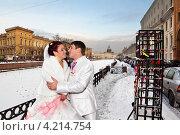 Молодожены в Санкт-Петербурге зимой. Стоковое фото, фотограф Антон Куделин / Фотобанк Лори