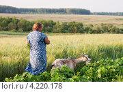 Купить «Женщина ведёт козу», эксклюзивное фото № 4220178, снято 11 декабря 2019 г. (c) Майя Крученкова / Фотобанк Лори