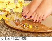 Женские ноги в спа-салоне на педикюрной процедуре. Стоковое фото, фотограф Валуа Виталий / Фотобанк Лори
