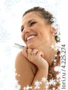 Купить «Портрет очаровательной брюнетки на белом фоне», фото № 4225274, снято 19 августа 2006 г. (c) Syda Productions / Фотобанк Лори