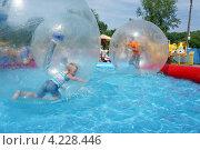 Купить «Мальчики катаются в Зорбо-шарах в бассейне», фото № 4228446, снято 14 июля 2012 г. (c) Светлана Попова / Фотобанк Лори