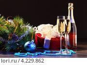 Купить «Бутылка шампанского, бокалы и подарочная красная коробка на праздничном новогоднем столе», фото № 4229862, снято 26 сентября 2012 г. (c) Sergey Nivens / Фотобанк Лори