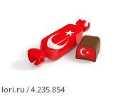 Шоколадная конфета на белом фоне. Фантик и начинка с текстурой флага Турции. Стоковая иллюстрация, иллюстратор Андрей Дыкун / Фотобанк Лори