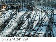 Купить «Железнодорожная станция», фото № 4241794, снято 1 марта 2008 г. (c) Шумилов Владимир / Фотобанк Лори