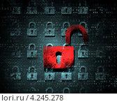 Купить «Концепция информационной безопасности. Фон с красным замком», фото № 4245278, снято 18 ноября 2018 г. (c) Sergey Nivens / Фотобанк Лори