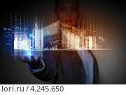 Купить «Бизнес-леди держит на ладони проект современного небоскреба, выполненный в компьютерной программе 3д моделирования», фото № 4245650, снято 16 сентября 2012 г. (c) Sergey Nivens / Фотобанк Лори