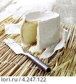 Купить «Французский сыр камамбер и нож», фото № 4247122, снято 22 июля 2019 г. (c) Food And Drink Photos / Фотобанк Лори