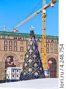 Купить «Новогодняя елка на Лубянской площади в Москве на фоне реконструируемого универмага «Детский мир»», фото № 4248754, снято 25 января 2013 г. (c) Владимир Сергеев / Фотобанк Лори