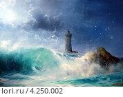 Волна и маяк. Стоковая иллюстрация, иллюстратор Якименко Сергей / Фотобанк Лори