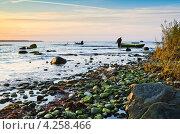 Купить «Рыбацкие лодки на побережье Балтийского моря на закате», фото № 4258466, снято 2 октября 2012 г. (c) Игорь Соколов / Фотобанк Лори