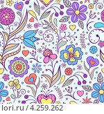 Бесшовный фон с цветами. Стоковая иллюстрация, иллюстратор kiyanochka / Фотобанк Лори