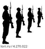 Купить «Силуэты солдат во время военного парада», иллюстрация № 4270022 (c) Фотограф / Фотобанк Лори