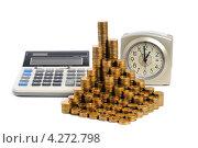Купить «Монеты и калькулятор. Монеты, сложенные в столбики. Время - деньги», эксклюзивное фото № 4272798, снято 9 февраля 2013 г. (c) Юрий Морозов / Фотобанк Лори