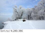 Зимняя Москва-река в Подмосковье. Стоковое фото, фотограф Natalya Sidorova / Фотобанк Лори