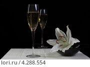 Бокал шампанского и цветы на черном фоне. Стоковое фото, фотограф Смирнов Константин / Фотобанк Лори