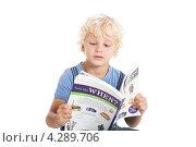 Симпатичный кудрявый мальчик блондин читает книгу на английском языке, фото № 4289706, снято 27 декабря 2012 г. (c) Ирина Смирнова / Фотобанк Лори