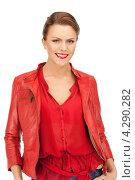 Купить «Яркая молодая шатенка в красной кожаной куртке», фото № 4290282, снято 12 марта 2011 г. (c) Syda Productions / Фотобанк Лори
