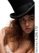 Купить «Привлекательная девушка в черном цилиндре и платье», фото № 4298170, снято 25 июня 2011 г. (c) Syda Productions / Фотобанк Лори