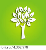 Купить «Дерево на зеленом фоне - концепция экологии», иллюстрация № 4302978 (c) Евгения Малахова / Фотобанк Лори
