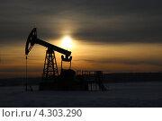 Купить «Добыча нефти. Нефтяная качалка на закате», фото № 4303290, снято 18 февраля 2013 г. (c) Mikhail Erguine / Фотобанк Лори