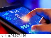 Купить «Современные технологии для бизнеса. Палец касается экрана планшетного компьютера», фото № 4307486, снято 19 ноября 2012 г. (c) Sergey Nivens / Фотобанк Лори