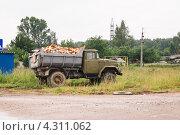 Купить «Самосвал  с дровами», фото № 4311062, снято 3 июля 2010 г. (c) Алёшина Оксана / Фотобанк Лори