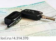 Купить «Автомобильные ключи лежат на страховом полисе», эксклюзивное фото № 4314370, снято 14 февраля 2013 г. (c) Игорь Низов / Фотобанк Лори