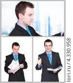 Купить «Молодой мужчина в офисном костюме, коллаж из трёх фотографий», фото № 4330958, снято 4 августа 2020 г. (c) Vitas / Фотобанк Лори