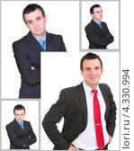 Купить «Молодой бизнесмен, коллаж из четырёх фотографий», фото № 4330994, снято 4 августа 2020 г. (c) Vitas / Фотобанк Лори